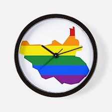 Rainbow Pride Flag South Sudan Map Wall Clock