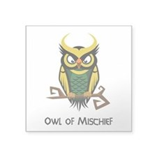 "Owl of Mischief Square Sticker 3"" x 3"""
