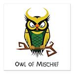 Owl of Mischief Square Car Magnet 3