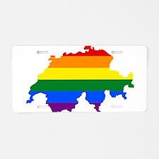 Rainbow Pride Flag Switzerland Map Aluminum Licens