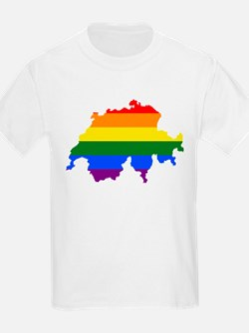 Rainbow Pride Flag Switzerland Map T-Shirt
