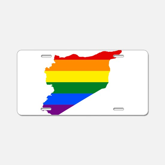 Rainbow Pride Flag Syria Map Aluminum License Plat