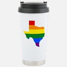 Rainbow Pride Flag Texas Map Travel Mug