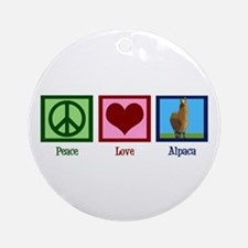 Peace Love Alpacas Ornament (Round)