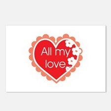 All my Love Postcards (Package of 8)