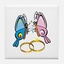 Marriage Butterflies Tile Coaster