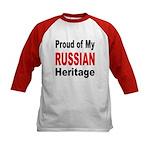 Proud Russian Heritage (Front) Kids Baseball Jerse