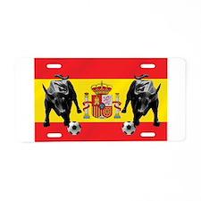 Spanish Football Bull Flag Aluminum License Plate