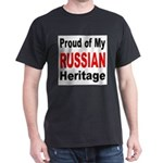 Proud Russian Heritage (Front) Black T-Shirt