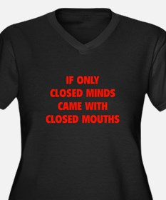 Closed Minds Women's Plus Size V-Neck Dark T-Shirt