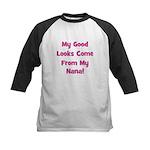 Good Looks From Nana - Pink Kids Baseball Jersey
