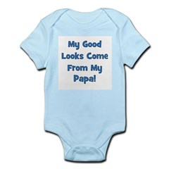 Good Looks From Papa - Blue Infant Creeper