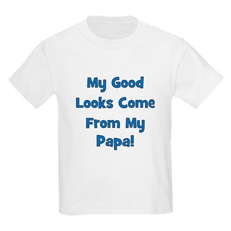 Good Looks From Papa - Blue Kids T-Shirt