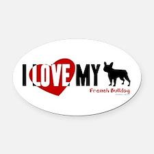 French Bulldog Oval Car Magnet