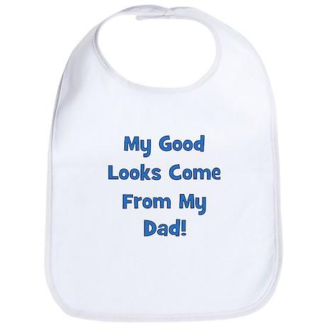 Good Looks From Dad - Blue Bib