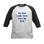 Good Looks From Dad - Blue Kids Baseball Jersey