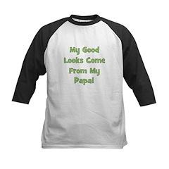 Good Looks From Papa - Green Kids Baseball Jersey