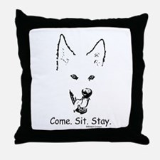 Come Sit Stay Paws4Critters Dog Throw Pillow
