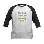Good Looks from Dad - Green Kids Baseball Jersey