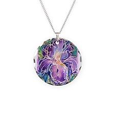 Iris! Purple flower, art! Necklace Circle Charm