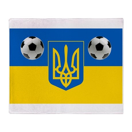Ukrainian Football Flag Throw Blanket
