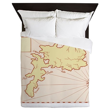Vintage Map of Island Queen Duvet