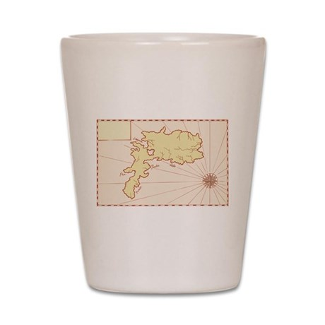 Vintage Map of Island Shot Glass