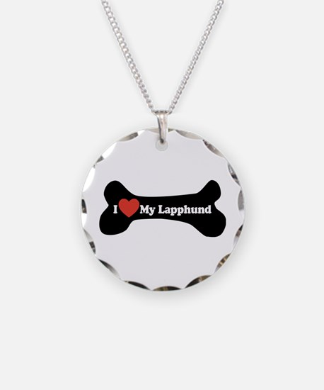 I Love My Lapphund - Dog Bone Necklace