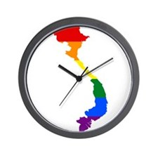 Rainbow Pride Flag Vietnam Map Wall Clock
