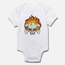 Flaming Skull and Crossbones Infant Bodysuit