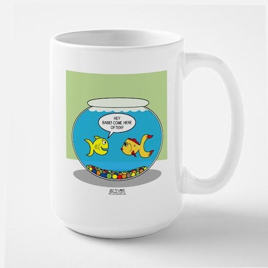 Fishbowl Pickup Lines Cartoon Large Mug
