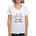 He's My Other Half Love Bike Women's V-Neck T-Shir