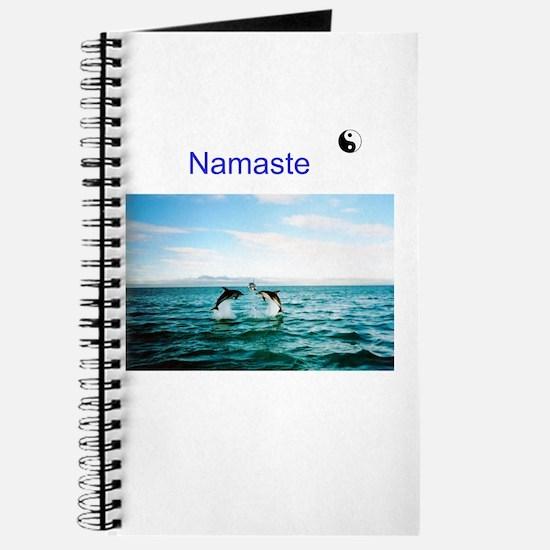 3 Jumping Dolphins NAMASTE Symbol Black Journal