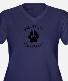 Protect the Pack! Women's Plus Size V-Neck Dark T-