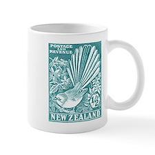 1937 New Zealand Fantail Bird Postage Stamp Aqua M