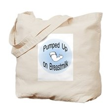 Mouse Made Pumped up on Breastmilk blue Tote Bag