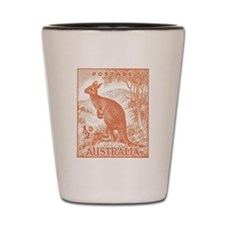 1937 Australian Kangaroo Stamp Orange Shot Glass