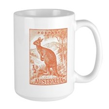 1937 Australian Kangaroo Stamp Orange Mug