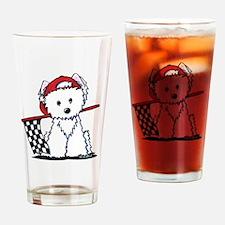 Race Car Westie Drinking Glass