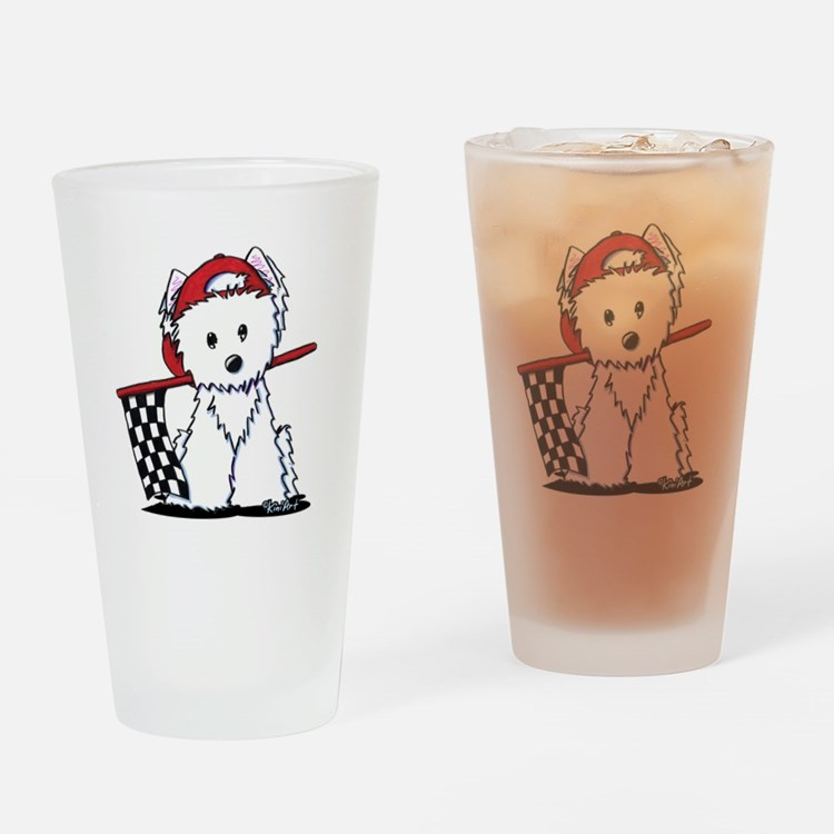Race Car Westie Drinking Glass
