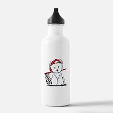 Race Car Westie Water Bottle
