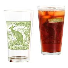 1937 Australian Kangaroo Stamp Green Drinking Glas