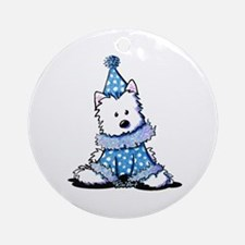 Blue Clown Westie Ornament (Round)