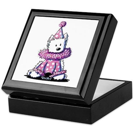 Pink Clown Westie Keepsake Box