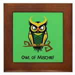 Owl of Mischief Framed Tile