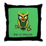 Owl of Mischief Throw Pillow