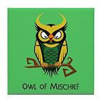 Owl of Mischief Tile Coaster