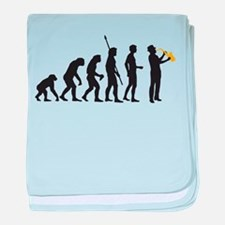 evolution saxophone player baby blanket