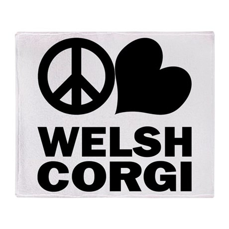 Peace Love Corgi Throw Blanket