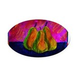 Three Pears Oval Car Magnet